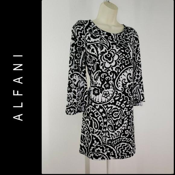 Alfani Dresses & Skirts - Alfani Woman Paisley Bell Sleeve Short Dress SZ M